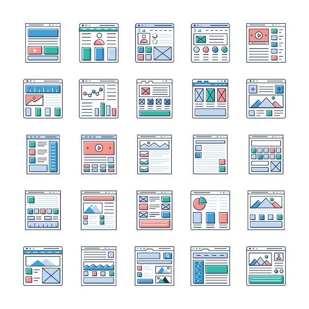 Il sito web che progetta il pacchetto di icone piatte è qui. se ti interessa il web design, il web hosting, la videografia, la comunicazione web e così via, cogli questa opportunità e usala nel campo pertinente. Vettore Premium