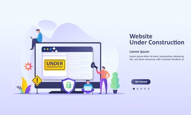 Il sito web è in costruzione Vettore Premium