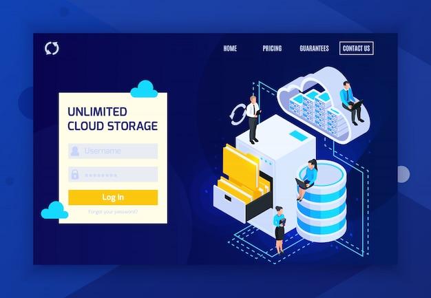 Il sito web isometrico della pagina di atterraggio di servizi della nuvola con i collegamenti cliccabili rapidi di accesso e le immagini concettuali vector l'illustrazione Vettore gratuito