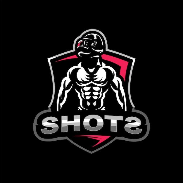 Il soldato in un campo di battaglia esports logo Vettore Premium