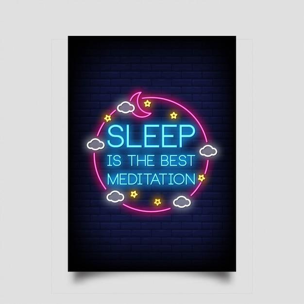 Il sonno è la migliore meditazione per poster in stile neon. Vettore Premium