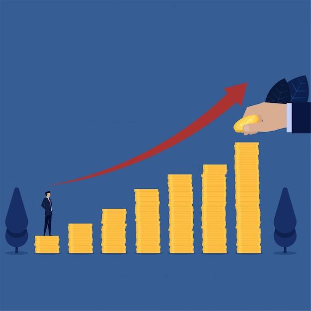Il supporto dell'uomo d'affari sopra la pila delle monete vede il punto seguente per crescita di carriera. Vettore Premium