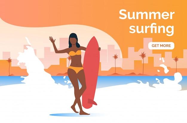 Il surf estivo ottiene più presentazioni Vettore gratuito