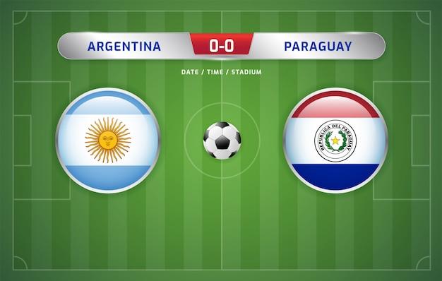 Il tabellone segnapunti argentina vs paraguay trasmette il torneo sudamericano di calcio 2019, gruppo b Vettore Premium