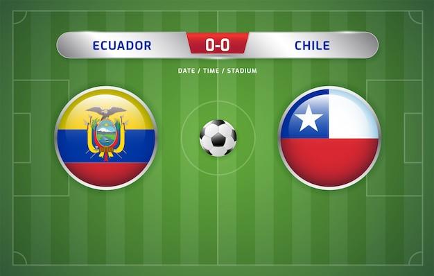 Il tabellone segnapunti dell'ecuador vs cile trasmette il torneo di calcio sudamericano 2019, gruppo c Vettore Premium