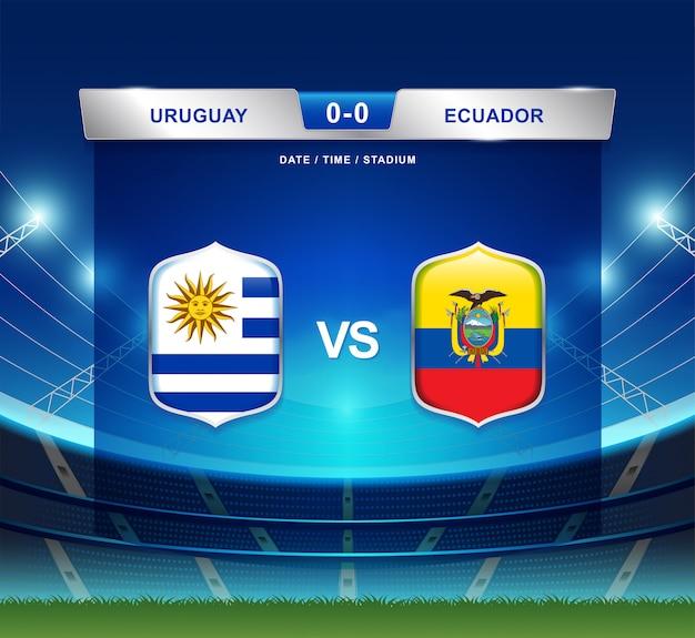 Il tabellone segnapunti dell'uruguay contro l'ecuador trasmette l'america di calcio copa Vettore Premium