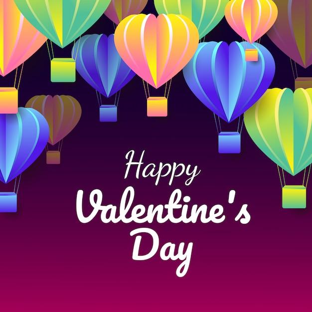 Il taglio della carta del san valentino celebra la carta con il volo variopinto degli aerostati di forma del cuore Vettore Premium