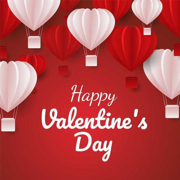 Il taglio di carta del san valentino celebra la carta con il volo rosso e rosa degli aerostati di forma del cuore vettore Vettore Premium