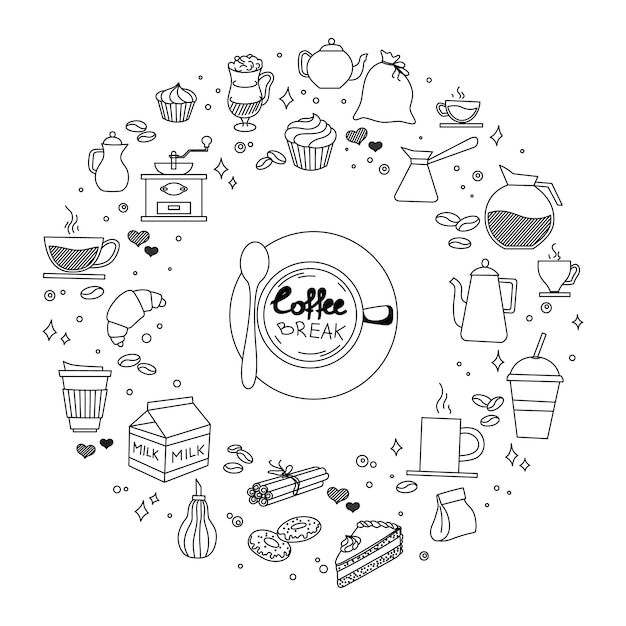 Il tempo del dolce e del caffè scarabocchia i simboli e gli oggetti imprecisi disegnati a mano dell'icona di vettore Vettore Premium