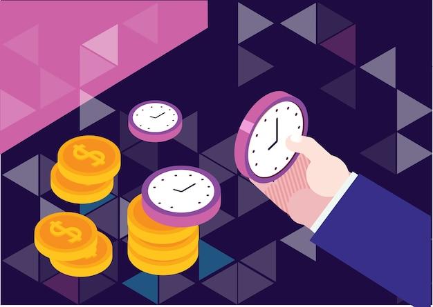 Il tempo è denaro illustrazione di concetto, gestione del tempo Vettore Premium