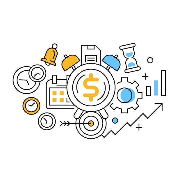 Il tempo è denaro illustrazione Vettore Premium