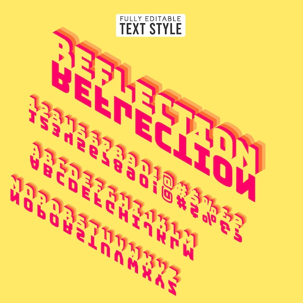 Il testo della fonte isometrica 3d segna l'alfabeto con lettere con ombra. collezione di set di specchi. Vettore Premium