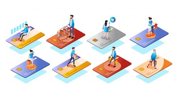 Il tipo differente della carta di credito con la gente o il cliente su, usa la carta per il vettore isometrico dell'illustrazione 3d di varie esigenze Vettore Premium