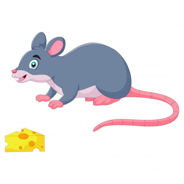 Il topo divertente del fumetto annusa il formaggio Vettore Premium