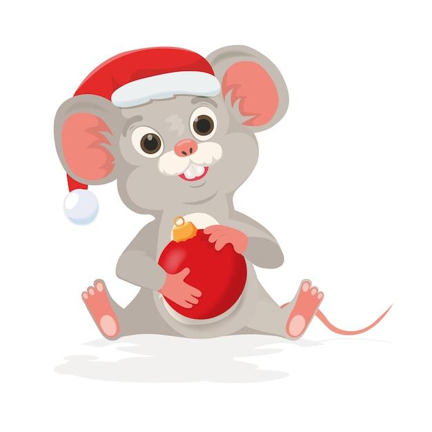 Il topo o il topo sveglio di natale tiene la palla del nuovo anno nello stile del fumetto. mouse in santa cappello come simbolo felice anno nuovo cinese 2020 segno zodiacale di ratto. Vettore Premium