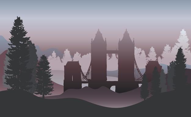 Il tower bridge in un vettore di foresta Vettore gratuito