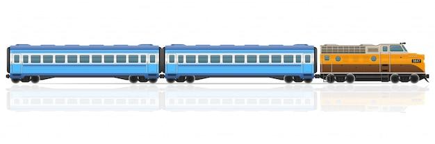 Il treno ferroviario con la locomotiva ed i vagoni vector l'illustrazione Vettore Premium