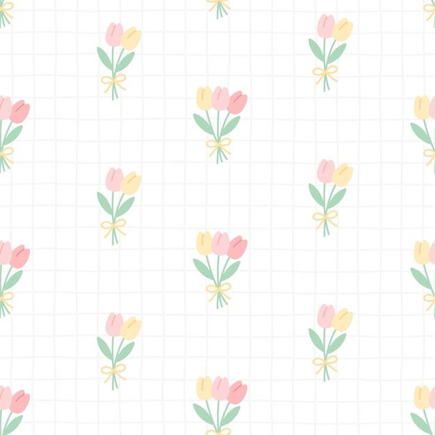 Il tulipano sveglio fiorisce il fondo senza cuciture del modello Vettore Premium