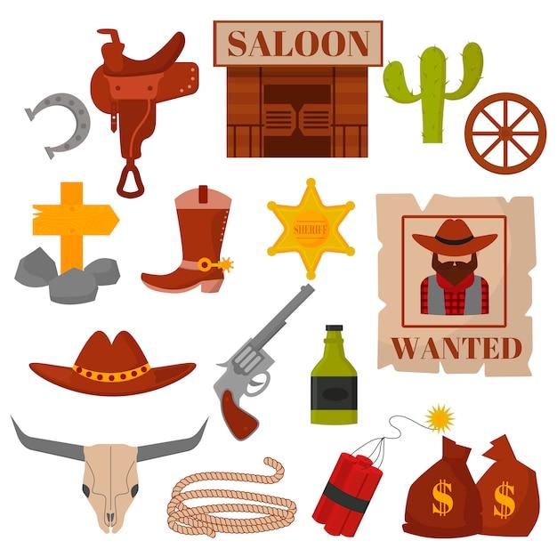 Il vecchio americano occidentale d'annata progetta le icone di vettore del cowboy del segno e della grafica. Vettore Premium