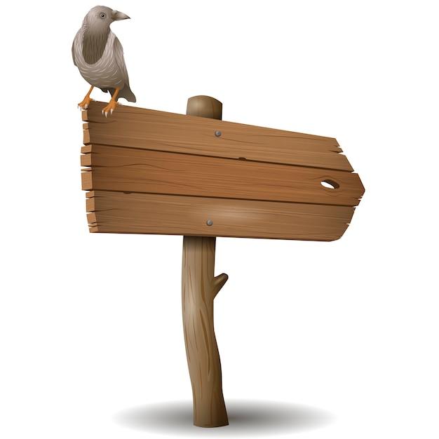 Il vecchio cartello in legno con un corvo Vettore Premium