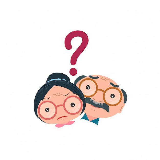 Il vecchio uomo anziano e la donna sono tristi isolato su sfondo bianco. illustrazione vettoriale. Vettore Premium