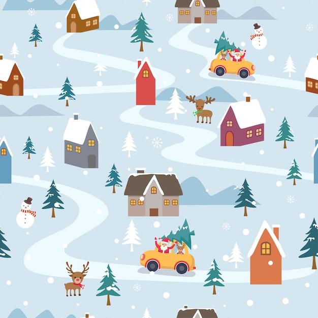 Il vettore dell'illustrazione di buon natale con il babbo natale va in città su neve per il modello senza cuciture Vettore Premium
