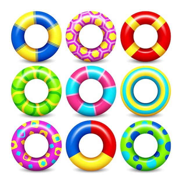 Il vettore di gomma variopinto di anelli suona l'insieme per il galleggiamento dell'acqua. raccolta di salvagenti per il cerchio di nuoto per c Vettore Premium