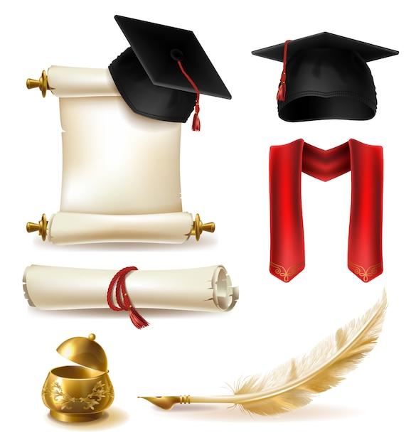 Il vettore realistico di simboli di graduazione di alta istruzione ha messo con il cappuccio e la sciarpa del tocco Vettore gratuito