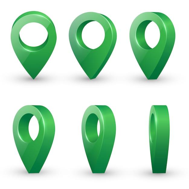 Il vettore realistico lucido dei puntatori della mappa del metallo verde ha messo in vari angoli. Vettore Premium