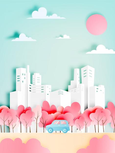 Il viaggio stradale con l'automobile nella stagione primaverile e la carta da parati pastello naturale di colore hanno tagliato l'illustrazione di vettore di stile Vettore Premium