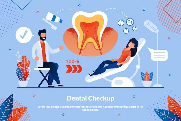 Il volantino informativo è un controllo dentale scritto. Vettore Premium