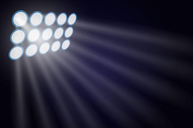 Illuminato dai proiettori. Vettore Premium