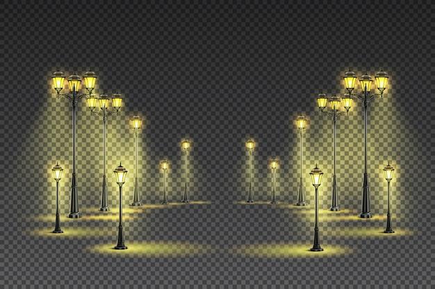Illuminazione gialla classica per esterni da giardino con lanterne grandi e piccole Vettore gratuito