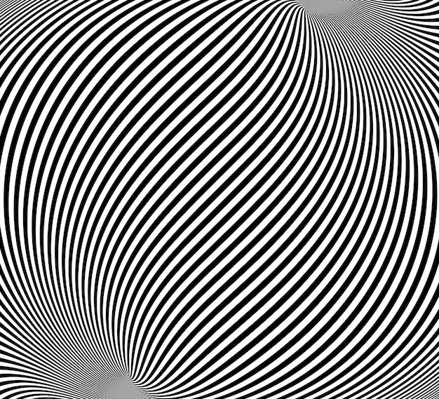 Illusione ottica, astratto sfondo contorto Vettore Premium