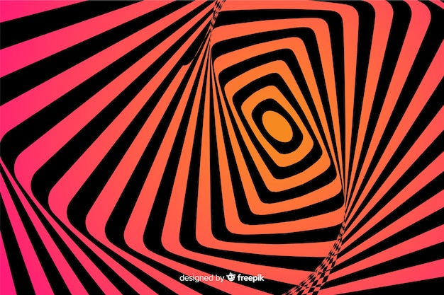 Illusione ottica sfondo stile piano Vettore gratuito