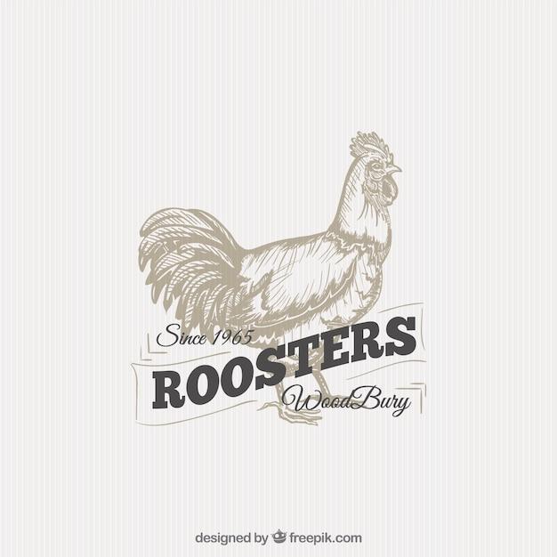 Illustrated gallo distintivo Vettore gratuito