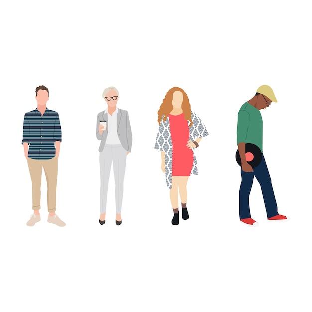 Illustrati diversi casual persone Vettore gratuito