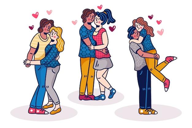Illustratio con raccolta di coppia il giorno di san valentino Vettore gratuito