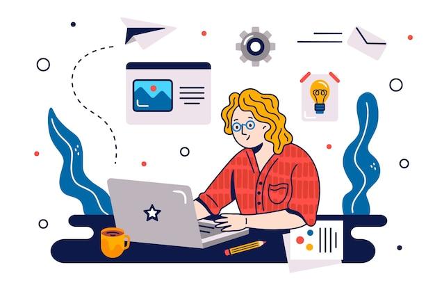 Illustrato il concetto di multitasking Vettore gratuito