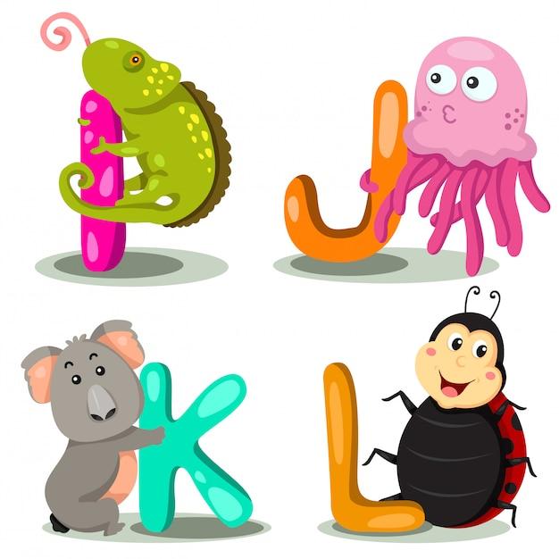Illustrator alphabet animal letter - io, j, k, l Vettore Premium