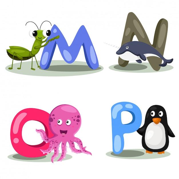 Illustrator alphabet animal letter - m, n, o, p Vettore Premium