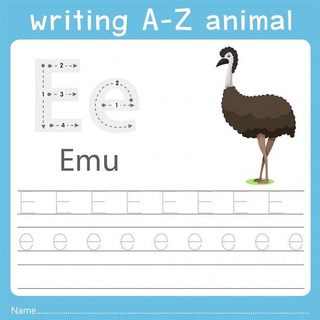 Illustrator che scrive az animal of emu Vettore Premium