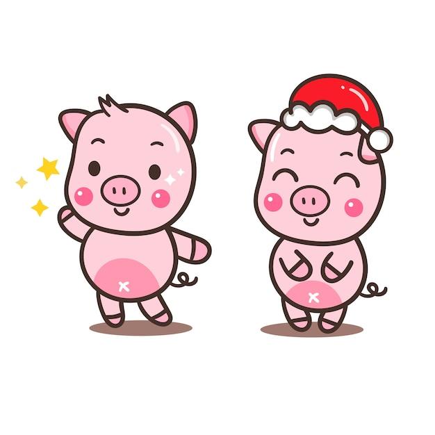 Illustrator of pig's set cartoon (happy chinese new year) Vettore Premium