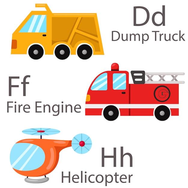 Illustrator per veicoli set 2 con autocarro ribaltabile, autopompa antincendio, elicottero Vettore Premium