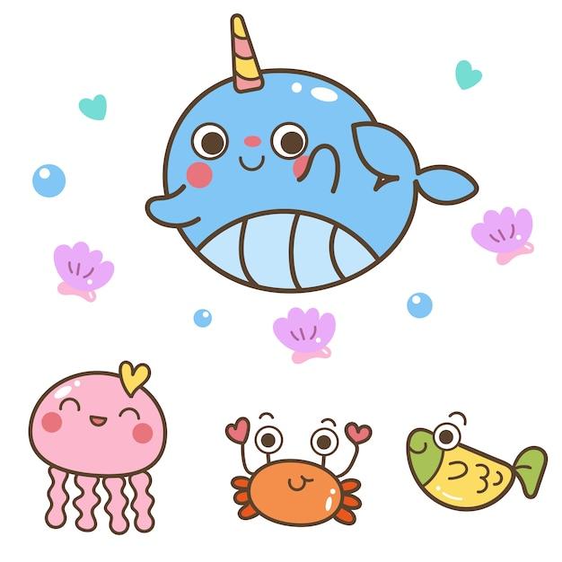 Illustratore della collezione di animali marini Vettore Premium