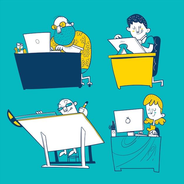 Illustratore, designer, programmatore e architetto Vettore Premium