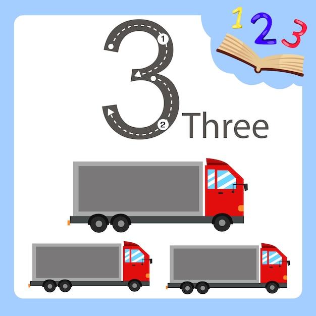 Illustratore di camion a tre numeri Vettore Premium