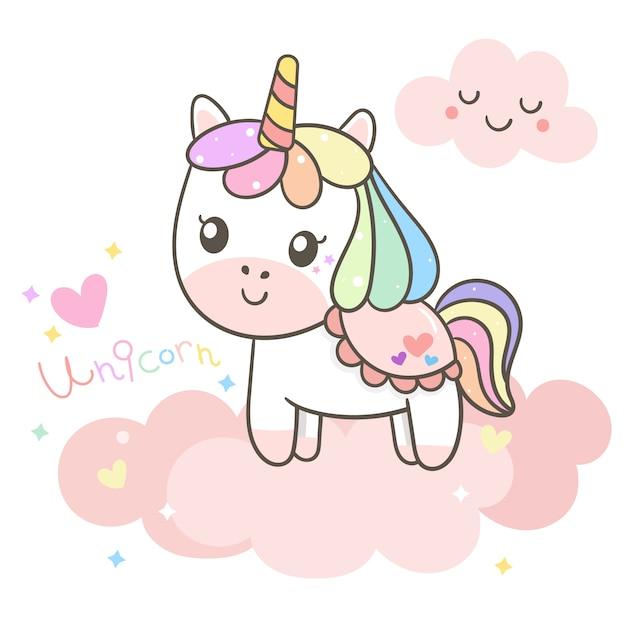 Illustratore di cartone animato unicorno Vettore Premium