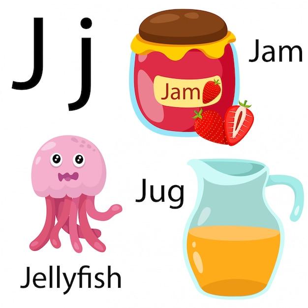 Illustratore di j alfabeto Vettore Premium