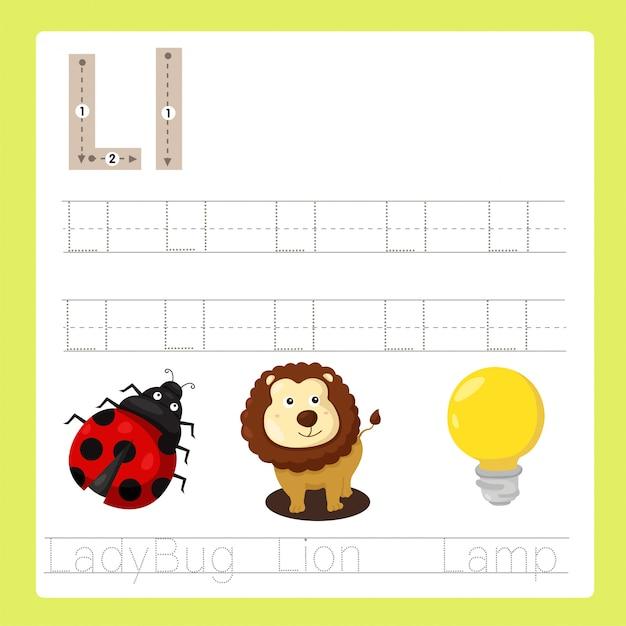 Illustratore di l esercita il vocabolario dei cartoni animati az Vettore Premium